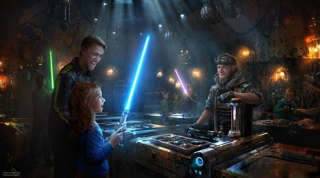 Savis Workshop: negozio di spade laser a Star Wars Galaxy's Edge a Disneyland California