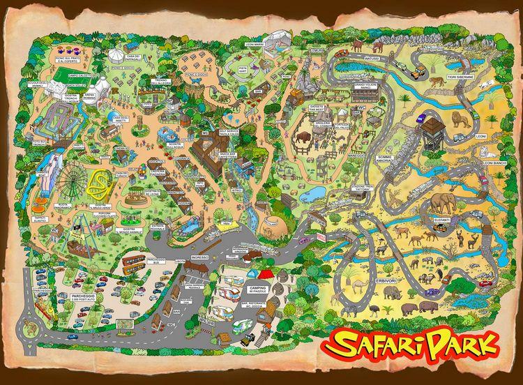 Mappa del Safari Park di Pombia