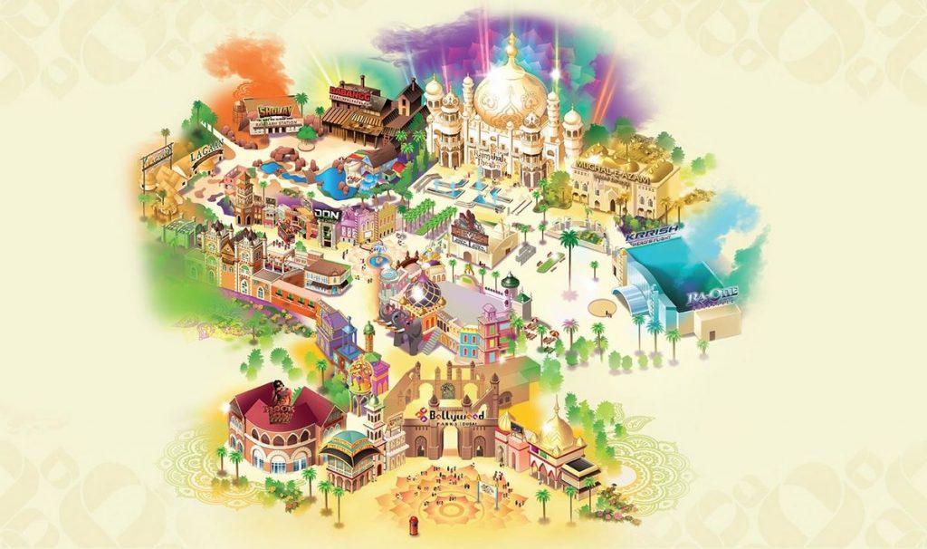 Mappa del parco tematico Bollywood di Dubai