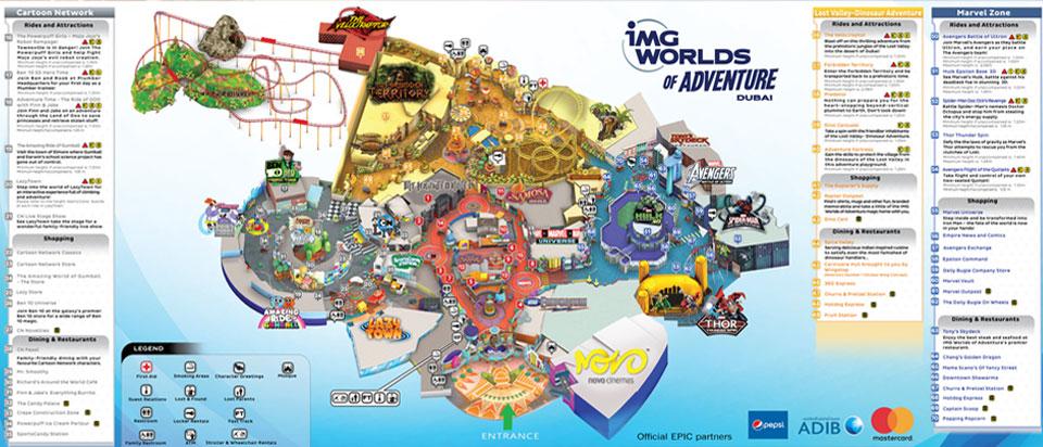 Mappa del parco tematico IMG WORLD of ADVENTURE a Dubai