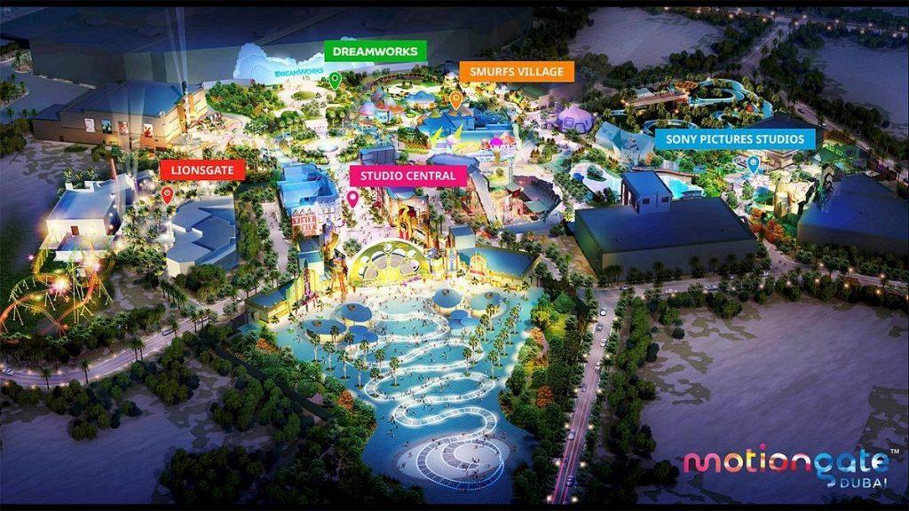 Mappa del parco divertimenti Motiongate Dubai