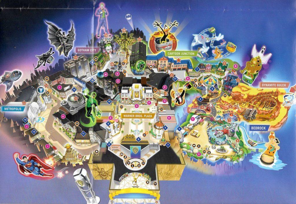 Mappa del parco tematico indoor Warner Bros World Abu Dhabi